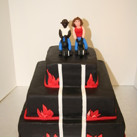 Highway To Hell Anniversary Cake With Motorcycles A customer requested this cake with figurines of her and her husband on motorcycles. I had a very hard time with the motorcycles, but it...