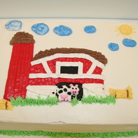 Farm Motif In Buttercream A customer requested a 2-layer 1/4 sheet cake decorated in a farm motif for a Sunday school picnic. Everything is buttercream.