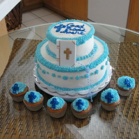 "Baptism Cake   I made this cake 6"" & 10"" & cupcakes for my 2 year old son who was baptised :)"