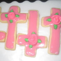 Cross Cookies Rolled butter cookies with corn syrup icing and royal icing ribbon roses