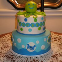Sea Creatures Cake   This was made for a lady from our church. It was inspired by the bedding that the couple chose for their little man. TFL