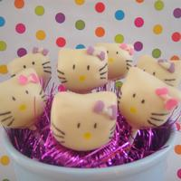 Hello Kitty cakepop with white chocolate in the shape of Hello Kitty
