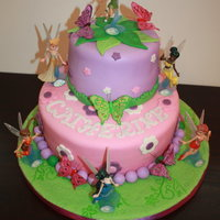 Disney Fairies Cake A Disney Fairies cake I made for my God-daughter, Catherine, who turned 3 years old last week. Purple and Green are pre-made fondant. Pink...