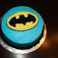 "Wilton Course 1 Lesson 2 Batman Cake My first cake from Cake Class Course 1. Using tip #16 and #3. Pattern Transfer method. Star fill-in. Zigzag border. 8"" round Yellow..."