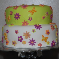 Lime And White With Flowers For a wonderful Grad of 2009! My very first tier cake. My very first use of fondant to cover a cake.... How hard can it be? (that's my...