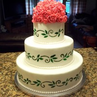 Floral Wedding Cake my first wedding cake, 6-10-14inch rounds all dummies as i did this for practice/advertising purpose, red gumpaste roses, hand painted...