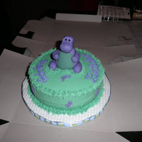 Barney Barney cake for a little man's 1st Birthday. Buttercream with fondant numbers and letters, Barney molded from MMF