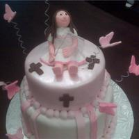 Butterfly Baptism Cake Not a 1st communion....a baptism for cake for a 3 year old. (couldn't find a baptism folder). The 3 crosses are for each year.....and...