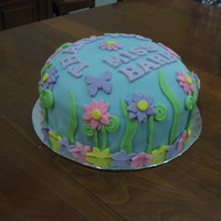 Spring Thank You Cake Fondant covered cake with fondant decorations