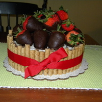 Barrel Of Strawberries barrel full of chocolate covered strawberries, usig pirouete cookies