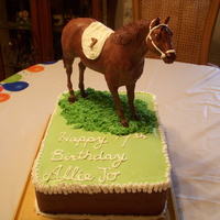 Chocolate Horse Cake My daughter is totally into horses, so I molded one of her horse in latex mold and filled with milk chocolate.