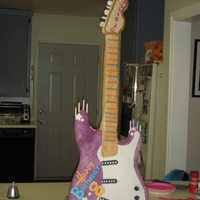 "Hannah Montana Guitar Stood 40"" tall by 13"" wide."