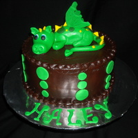Haley's Dragon Cake   Chocolate Cake with Chocolate Ganache. Dragon is all fondant.