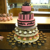 Pink And Chocolate Brown Wedding Cake