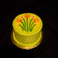 Small Flower Cake   BC covered cake with fondant flowers