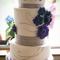 Purple And Pewter Wedding Shower Cake  I did this cake for one of my close friend's wedding shower. It was Michelle Foster's Fondant (White Chocolate) over Vanilla SMBC...