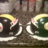 Steelers Vs Packers Football Helmets Cakes