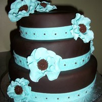 Teal And Brown Wedding Cake My first wedding cake!!! I was very nervous about the whole thing but I think it turned out pretty good!!