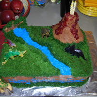 Dinosaur Cake I made the volcano and water wall out of Rice Krispie Treats. The lava is actually made out of jellied cranberry sauce. This cake was a lot...