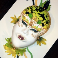 Venetian Mask Cake Jamaican Themed Venetian Mask Birthday Cake. Hand piped and painted!
