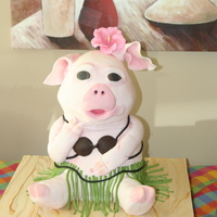 "Pig Picking Piggy Pig Piggy Pig Cake for a Pig Picking! Around 16"" tall, coconuts made from modeling chocolate, sugarveil skirt, gumpaste hibiscus, petal..."