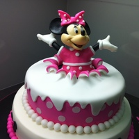 Birthday Surprise Minnie Mouse Birthday Cake I made this for my buddy's 6 year old daughter. This was my first attempt at a tiered cake-- based on many Minnie cakes on CC. But I...