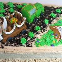 "Farm-Themed Bridal Shower Cake Chocolate cake and peanut butter buttercream, buttercream cabbages and carrots, flowers and grass, cookie crumb ""dirt"" and a..."