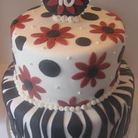 40Th Birthday Cake In Black, White And Red Two tiers in white fondant, zebra stripes on the bottom and flowers on top. The medallion with the number on top is made of fondant as well...