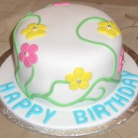 Flower Birthday Cake Simple vines with flowers