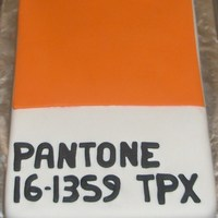 Pantone Colour Chip My friend wanted a chocolate orange cake, created to look like an orange Pantone colour chip