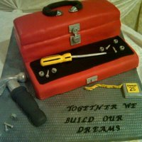 Toolbox And Tools Surprise groom's cake for my friend at their wedding. Fondant covered toolbox, gumpaste tools. I made my own molds for the screws and...