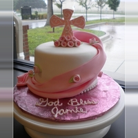 Pink Swag Confirmation Cake