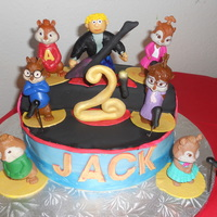 Alvin And The Chipmunks Cake Two 10 inch rounds with a 3rd cut in half for the back half of the stage. Chocolate cake with PB SMBC. Chipmunks are McDonald's toys,...