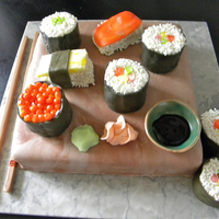 Sushi Cake All edible! vanilla cake with mocha cream filling and mmf covering. Sushi pieces are all cake with mmf and white sprinkles for decoration....