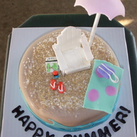 Summer Cake Made 4 cakes for my school's end of year party- did the school letters, but they seemed booring so I added a small beach cake inspired...