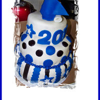 Blue, White And Black Graduation Cake