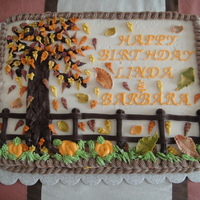 Autumn Leaves I made this cake for some friends at work. Everything is buttercream with the leaves made out of buttercream and a little royal icing.