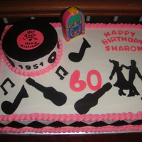 50's Theme  Made for friend's 60th birthday. It was a 50's theme party. The cake is buttercreme, decorated in regular & chocolate (...