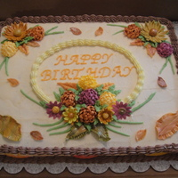 Fall Birthday Cake The flowers & leaves are made from royal icing and fondant then I brushed bronze dust over most of them. The cake was made for my...