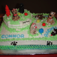 Dog & Kitty Park Animals are made from fondant & gumpaste. The cake is yellow with chocolate mousse filing & buttercream frosting. My customer asked...