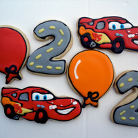 Lightning Mcqueen Sugar cookie decorated with royal icing.