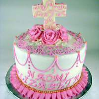 Pink Girly Curly Baptism Cake