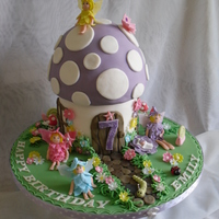 Fairy Toadstool  Vanilla sponge with butter cream and white chocolate ganache, covered in fondant.everything is hand made and completely edible for the kids...