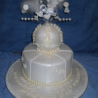 Pearl Wedding Anniversary Cake Vanilla sponge, with chocolate ganache and fondant. The topper is a styrene ball covered in fondant, all the pearls are edible. The client...