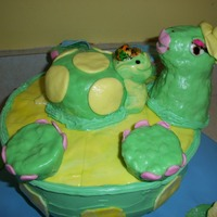 Bath Time With Mama Turtle  this is a cake done for a friend who collects turtles. Her favorite figurine was a mama turtle on its back holding a baby turtle. So when...