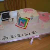 Keepsake Chest  This cake was done for a friends baby shower. She is a teacher so that is why the name was in phonogram cards. The quilt was a...