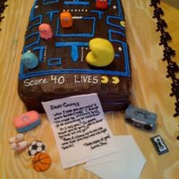 80's Themed Birthday Cake  this cake was for a woman's birthday the 80's theme features pac-man, some things from her highschool days as well as a letter to...