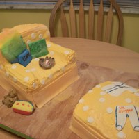 Chair And Ottoman  this cake was done using colors/patterns from the invitations that were designed by the mom to be and her sister. It was all cake with mmf...