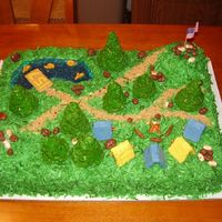 Boy Scout Camp Out This was made for a father-son cake bake for boyscouts. Everything is edible except for the flag. The trees are marshmallow cornflake...