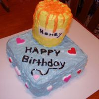 Honey Pot This cake was made for my boyfriend's mom. She hates honey....it was funny. :) The kids even helped by putting the hearts on it.